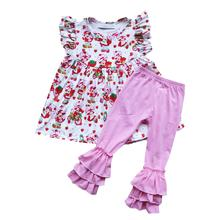 2020 New Clothes New Design Fall Dress Cotton Ruffle Pants Sets Baby Knit Cotton Girls Frock Design Pictures Kids Clothing Set