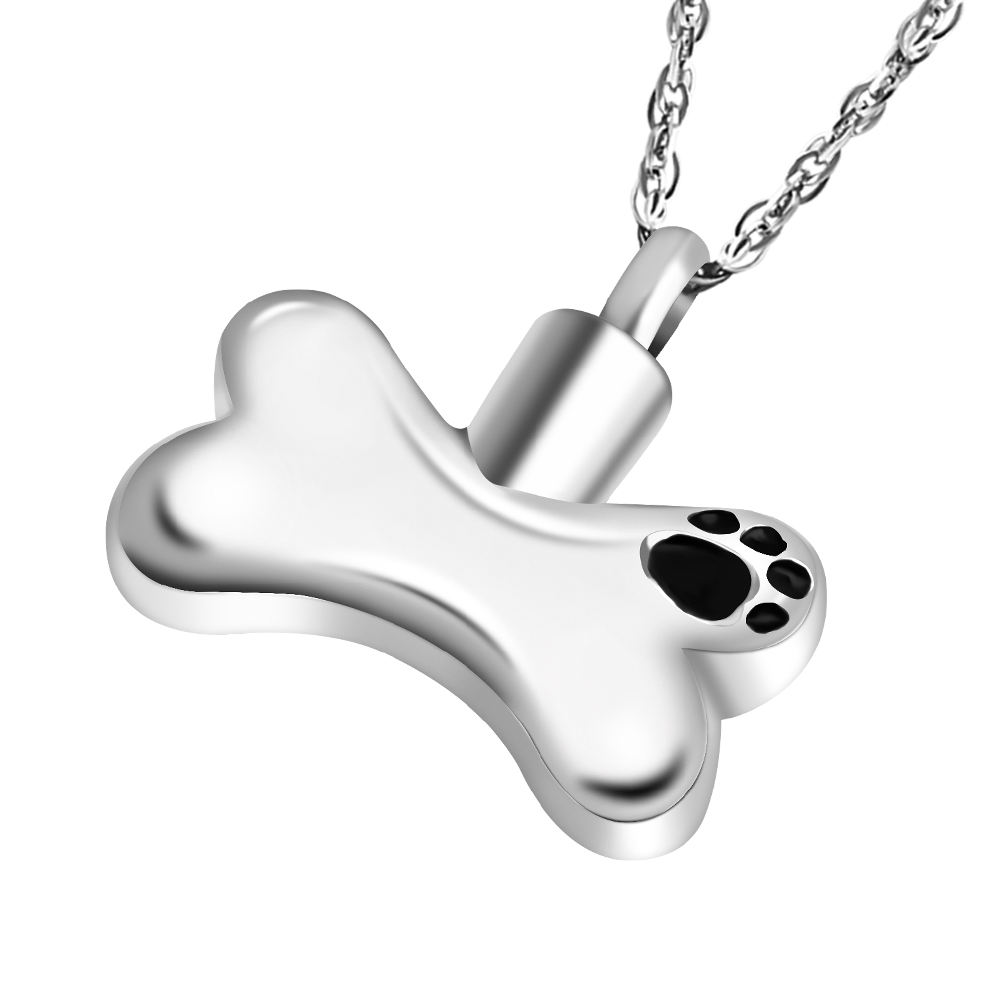 Stainless Steel Bone Pendant Choker Dog Pet Cremation Ashes Urn Jewelry Necklace