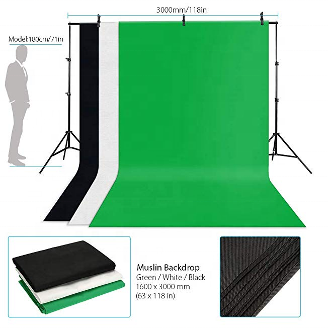 High quality cotton photography photo studio green screen muslin backdrop for photographer