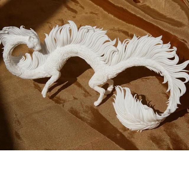 Beyaz kedi ejderha heykel polimer kil hayvanlar dekor terraryumlar için Aguariums Flover tencere döküm reçine ev dekor
