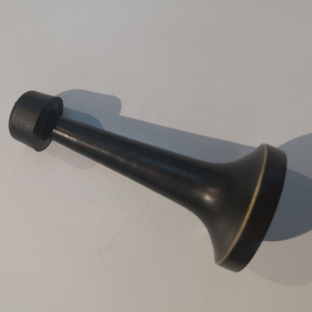 Large long cylinder wall mounted buffer black silica gel luxury solid brass rubber door stop