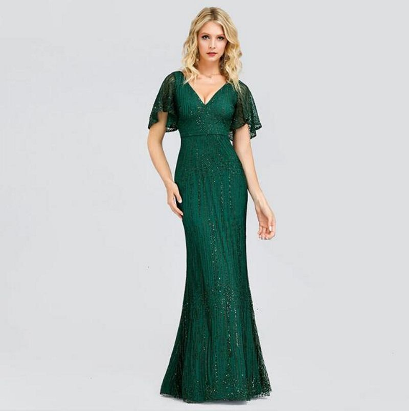 Sexy Mermaid Evening Dresses Long Ever Pretty Sequined V-Neck Sparkle Evening Gowns For Party Vestidos Largos Fiesta