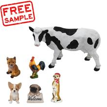 FREE SAMPLE Polyresin Figurine Mini Cow with Spots Garden Hand Painted Resin Garden Ornament resin  Cow