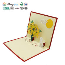Professional Custom Recordable Birthday Christmas Handmade Art Stand Pop Up 3D Post Card Postcard Printing Greeting Card