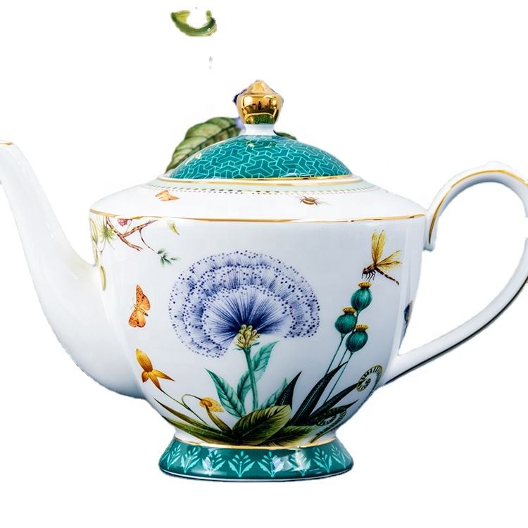 Oriental high quality gold rim charge antique bone china ceramic tea sets with teapotset afternoon tea and family use wholesale