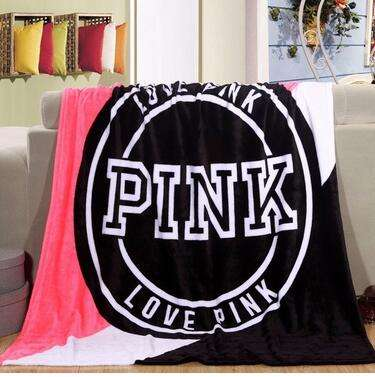 New products PINK contrast color stitching three-color thin blanket