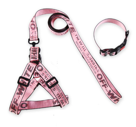 Luxury pet products 2020 Off-white Dog Harness Collar Leash Set for small medium large dogs