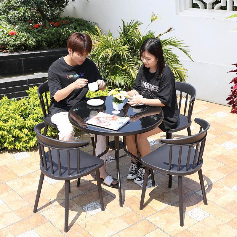 Mojia Factory OEM Modern Outdoor Furniture Plastic Garden Set Chair Cafe Table And Chair PVC Patio Furniture Set For Bistro