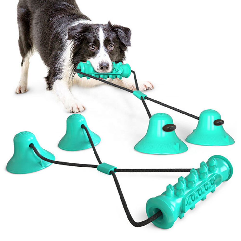 New Product Double Suction Cup Drawstring Molar Durable Interactive Dog Chew Toy