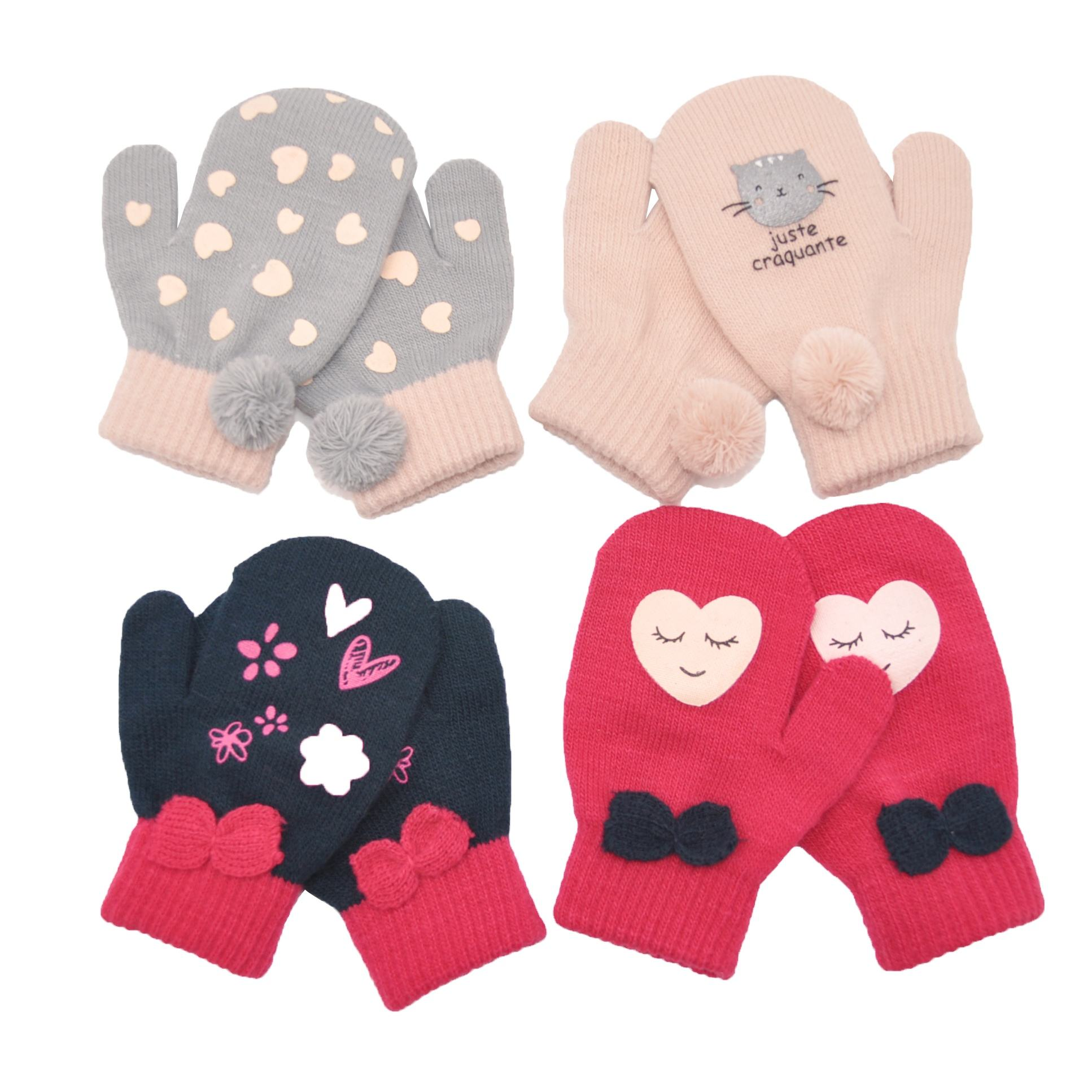 Beautiful Acrylic Wool Polyester Knitted Mittens Children Mittens Baby Mittens Children Gloves