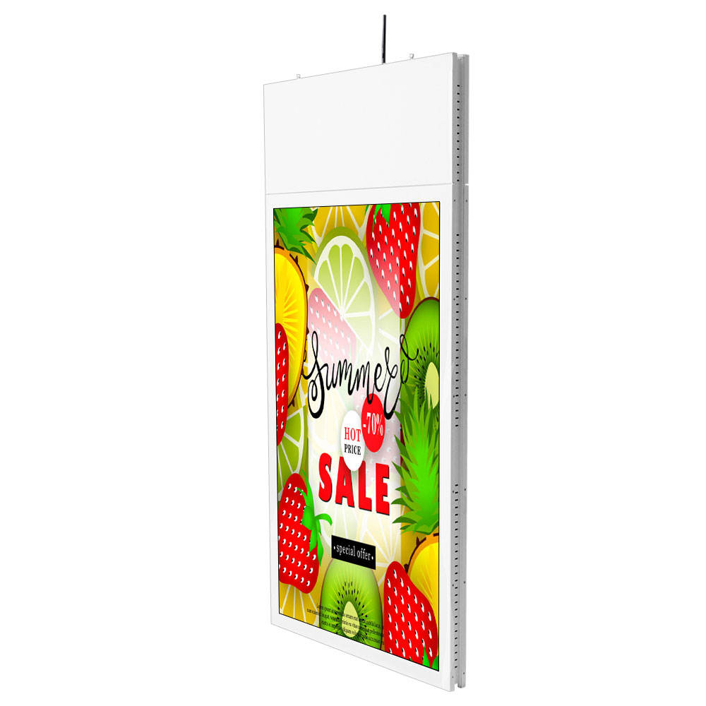 43 inch dual screen advertising hanging double sided digital signage kiosk