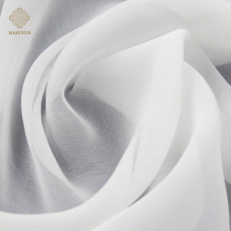 New arrival soft feeling white chiffon 30-50D polyester fabric for scarves dress