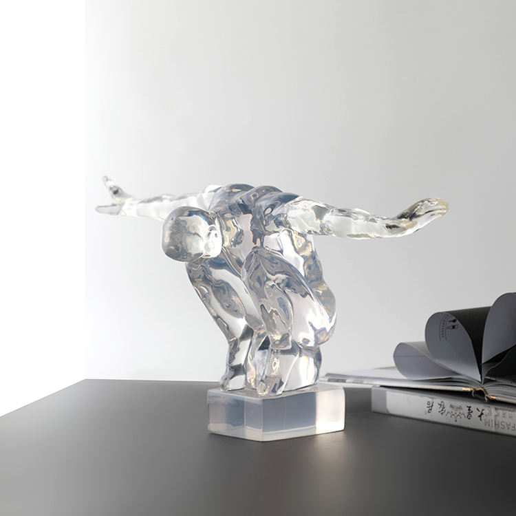 Minimalistic home decoration piece modern art clear resin sculpture for table interior resin craft