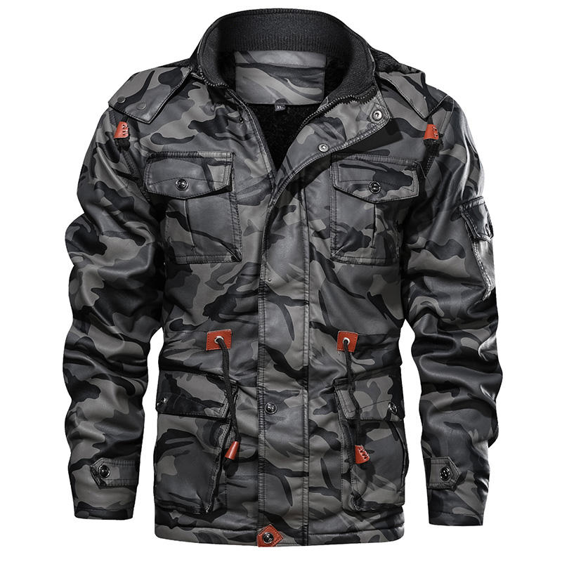 Men's Large Size Moto Leather Windbreaker Winter Fleece Warm Full Zip Up Trucker Jacket Camofalge Boys Jackets casacas de cuero
