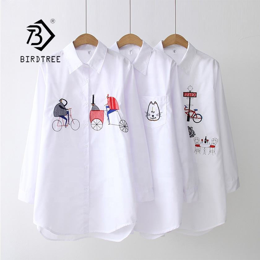 NEW White Shirt Casual Wear Button Up Turn Down Collar Long Sleeve Cotton Blouse Embroidery Feminina HOT Sale