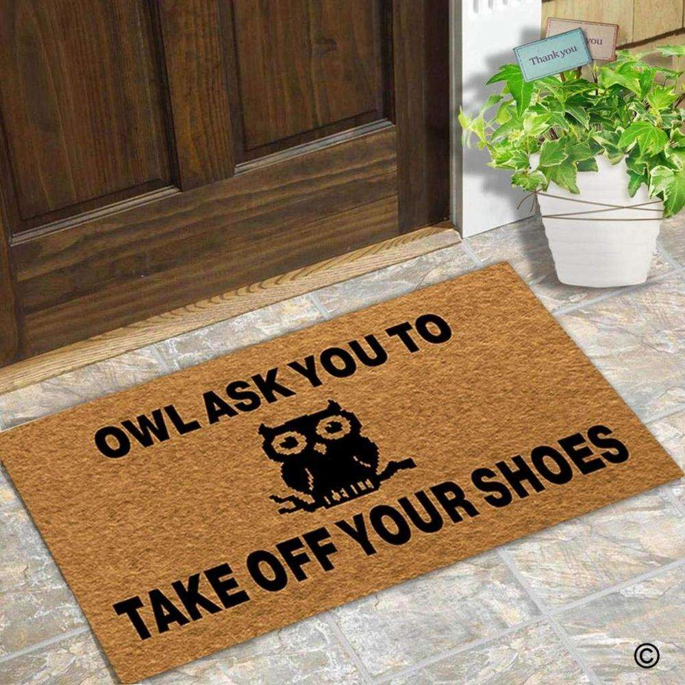 Doormat Entrance Floor Mat Funny Door Mat Owl Ask You To Take Off Your Shoes Designed Non-slip Doormat