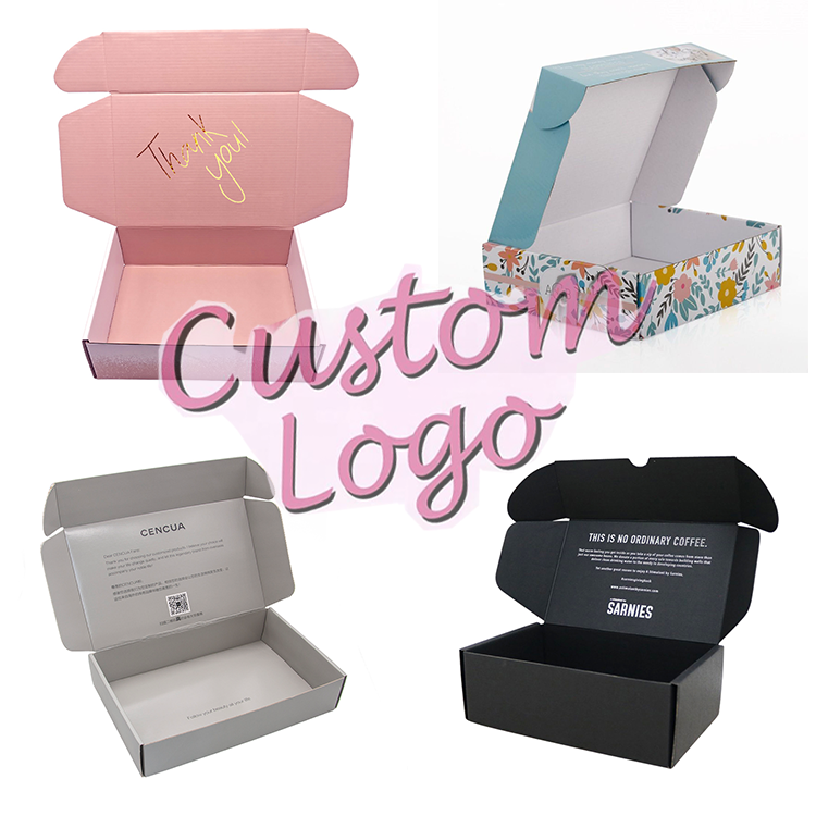 Custom Boxes Large Small Pink Black White Marble Colored Cardboard Shipping Corrugated Box Mailers Packaging With Logo