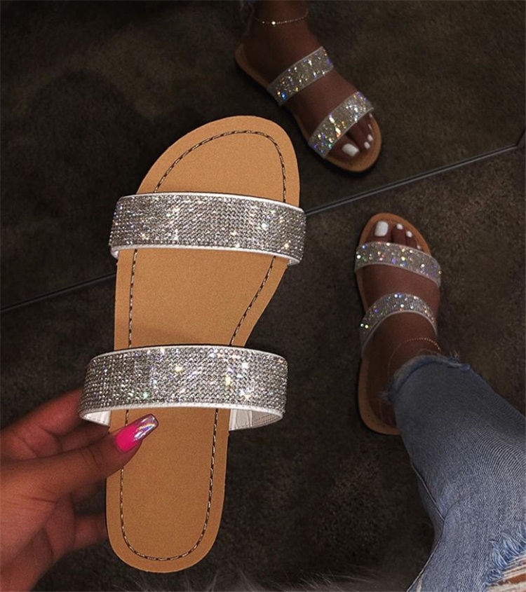 Diamond women slippers summer crystal Hollow flat Slide ladies open toe Comfort slip on Outdoor beach sandals woman shoes