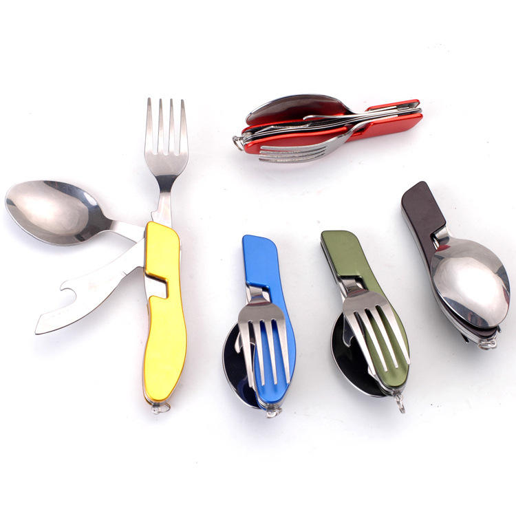 4in1 foldable stainless steel fork spoon knife opener outdoor tableware travel camping cutlery kit set