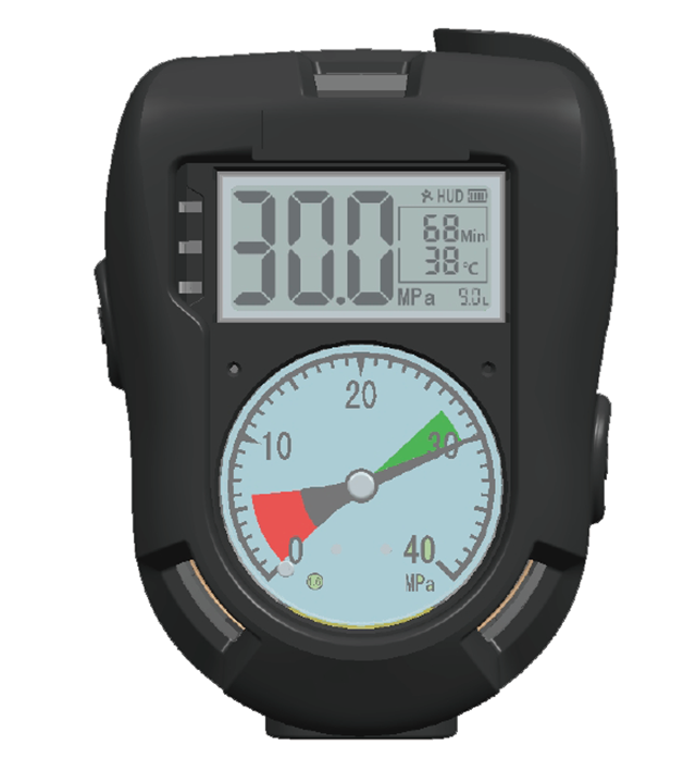 Digital pressure gauge with SCBA for fire rescue