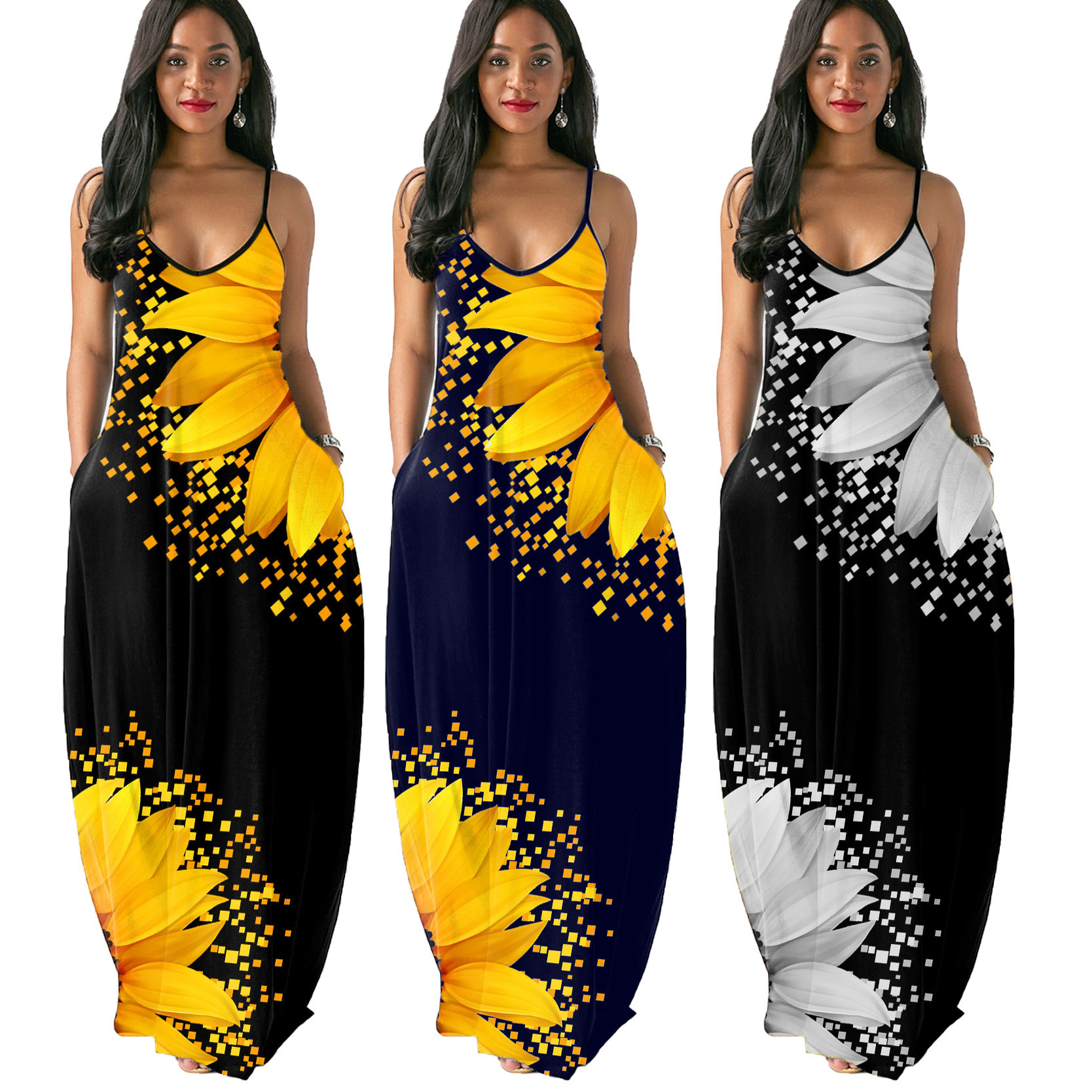 New arrivals 2020 plus size women clothing floral evening summer maxi dress woman