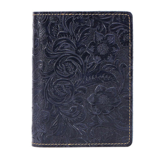 low moq high quality crazy horse leather passport holder fashion flower pattern embossed passport cover leather