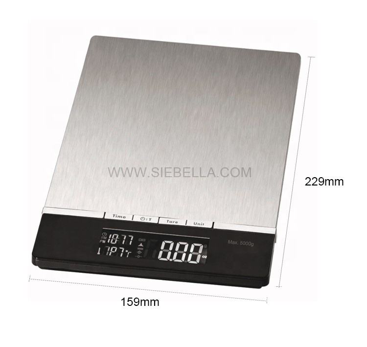 Stainless steel platform design digital food weight 5kg hair kitchen scale food digital kitchen scale electronic weighing