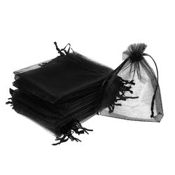100pcs Black Drawstring Organza Gift Bags 9x12cm Wedding Chr