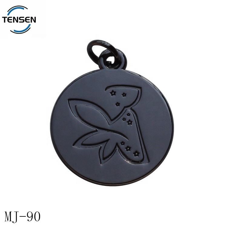 Black name engraved metal brand charms round logo handmade metal ring pendant for necklace accessory