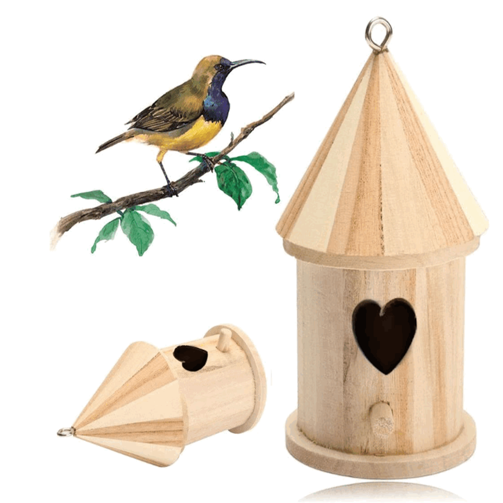 Children handmade craft home decorative kids DIY toy high quality wooden round bird house