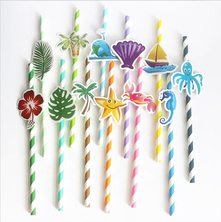 Party Supplies Disposable Ocean Series Colorful Stripe Paper Drink Decoration Straws with Cartoon Card