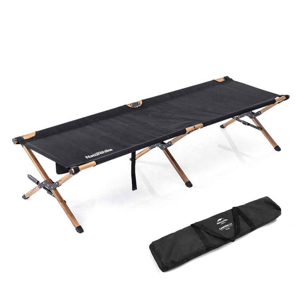 Naturehike XJC03 outdoor wood grain aluminum alloy folding cot beach bed military camping bed