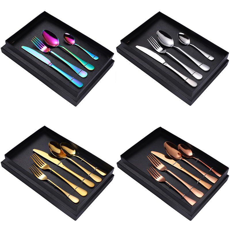 Amazon Hot Hotel Wedding Gift Box Custom Logo Luxury Knife And Fork Spoon 5 Pieces Food Grade Stainless Steel Cutlery Set
