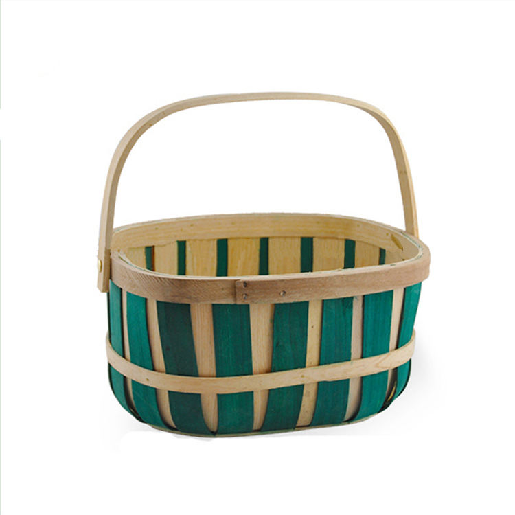 Woodchip Oblong Bushel Basket - Green