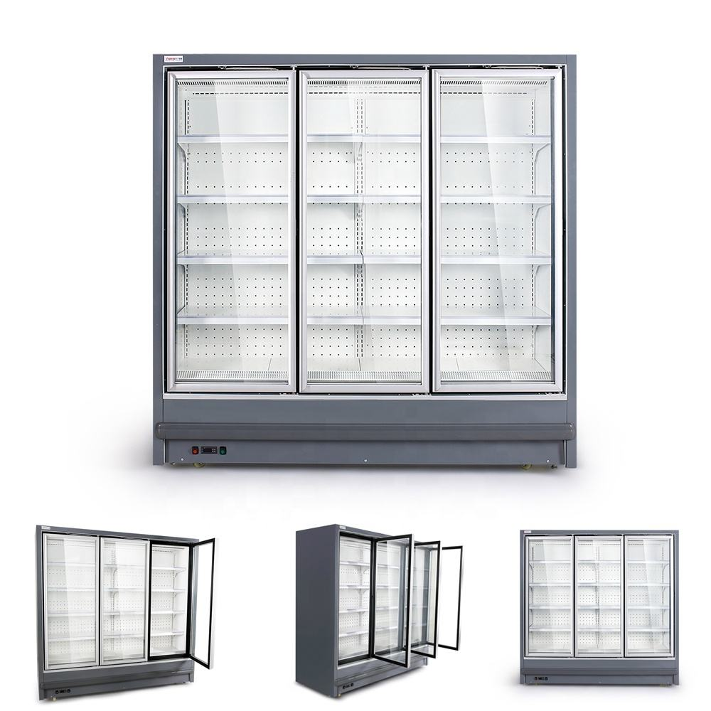 Customized commercial display freezer 3 door air curtain cabinet upright open chiller display