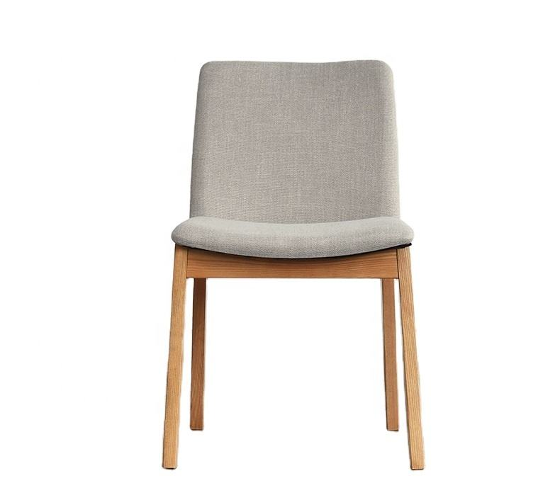 modern and simply unique design ash solid wood fabric dining chair for living room