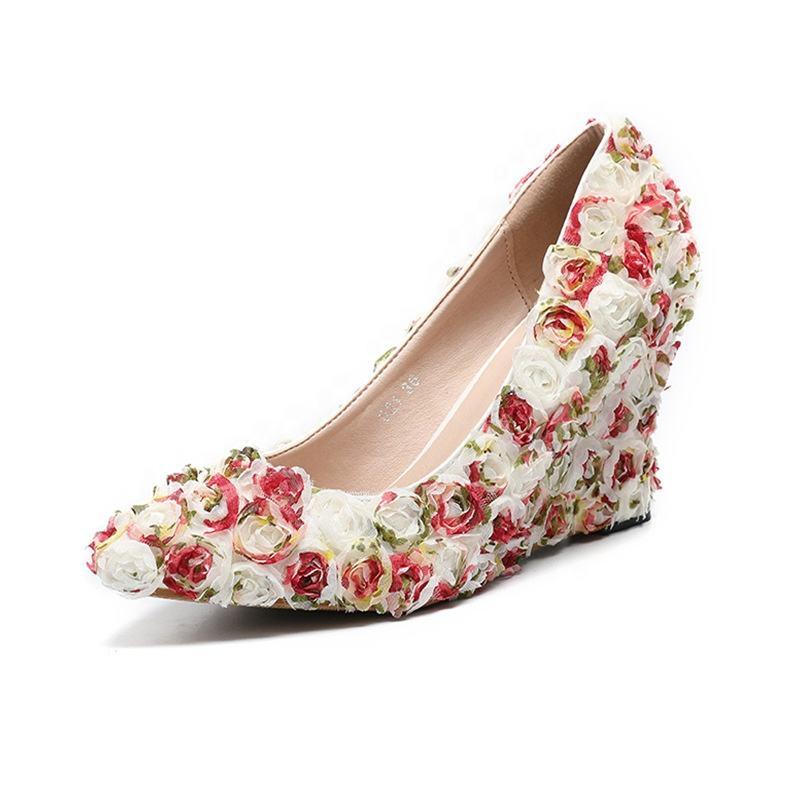 Zapatos de tac/ón de cu/ña para Mujer Color Rojo