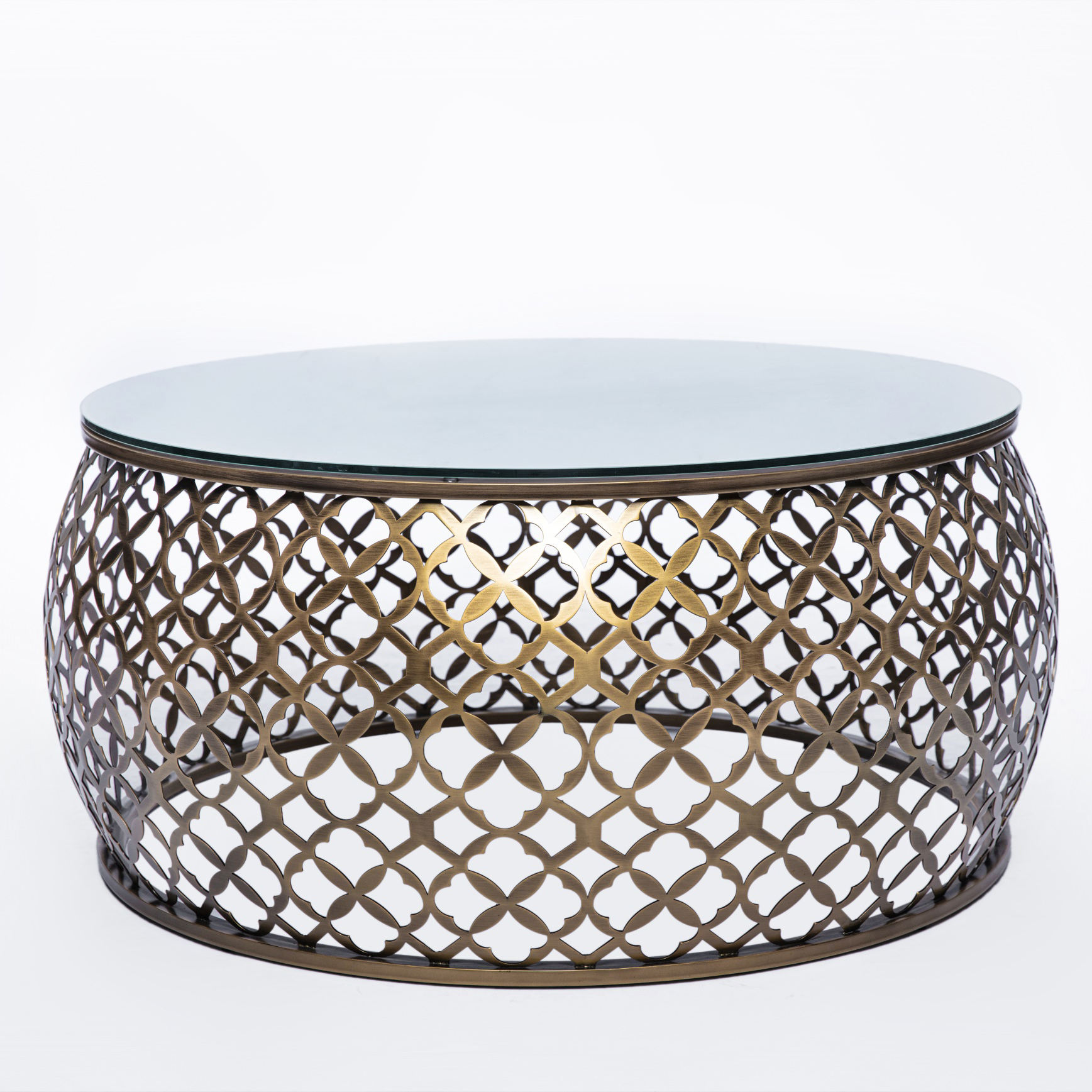 Modern Simple Living Room Furniture Luxury White Marble Top Gold Large Round Coffee Tables Set Metal Furniture