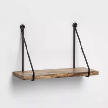 Home Decor Rustic Floating Book Decorative Wooden Vintage Black Metal Solid Wood Hanging Wall Mount Shelf
