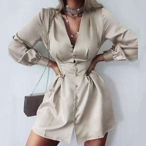 KON809 Autumn new hot sale solid color V-neck single-breasted high waist office shirt dress women clothing