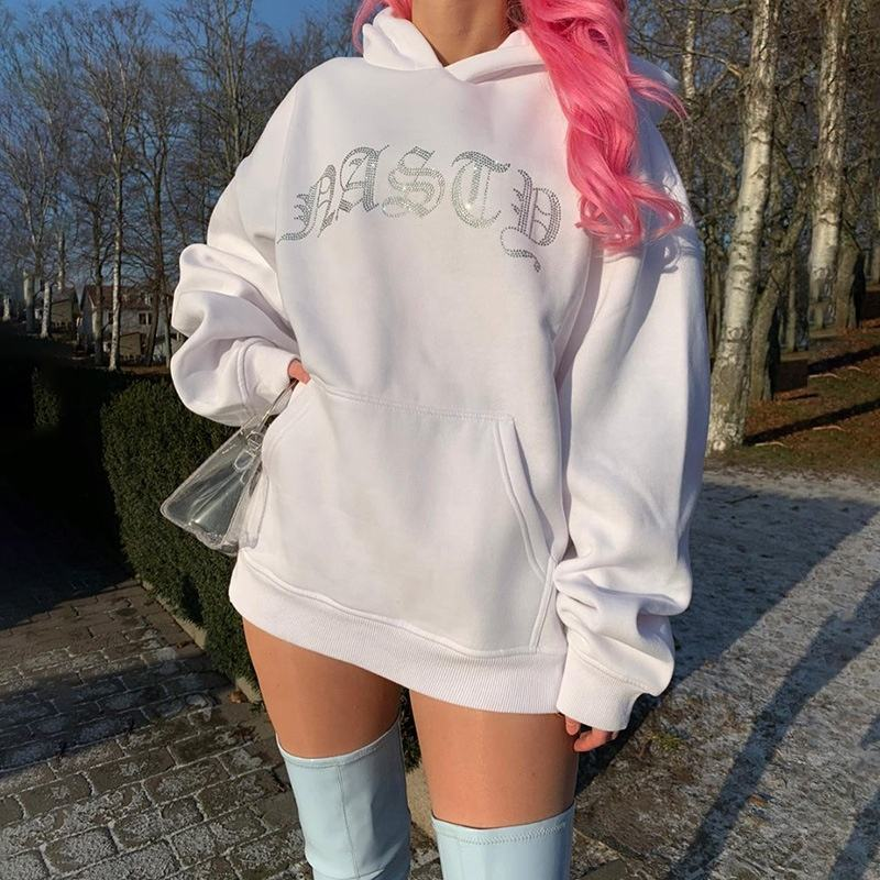 Custom Lange Mouwen Shiny Oversized Hoodies Sweatshirts Plain White Vrouwen Jogger Trainingspak