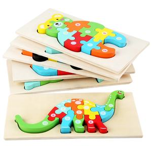 2020 Hot Selling New Designs Wooden 3D Puzzles montessori Game Toys Children wood jigsaw puzzle Educational Toys