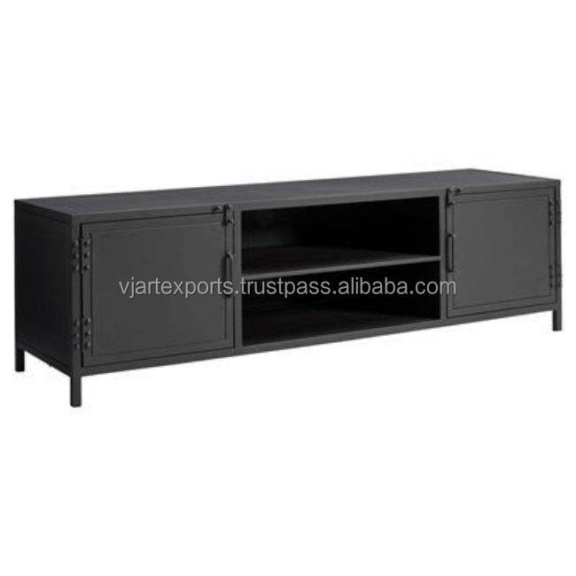 New design wooden tv table durable ms iron TV stand with black finish for home or hotel or multi purpose