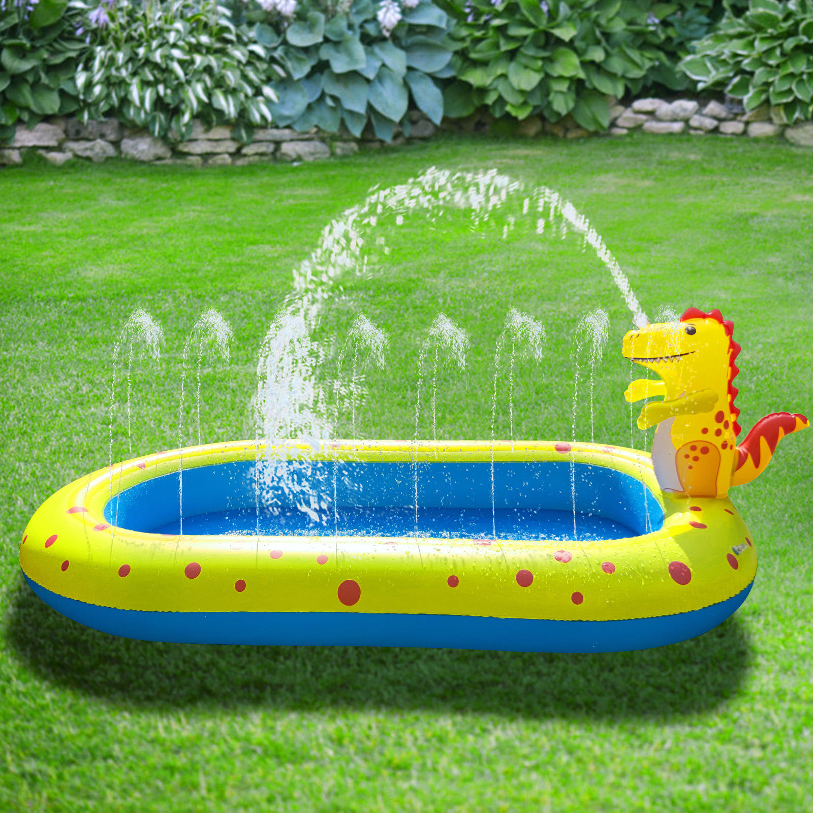 170cm PVC Inflatable mini kids plastic Swimming Pool for kids Dinosaur Fountain Outdoor Sprinkler Play Mat Children's Water Toy