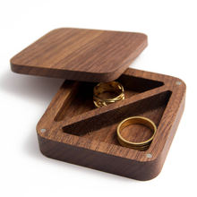 Walnut proposal ring box jewelry storage box wedding ring box