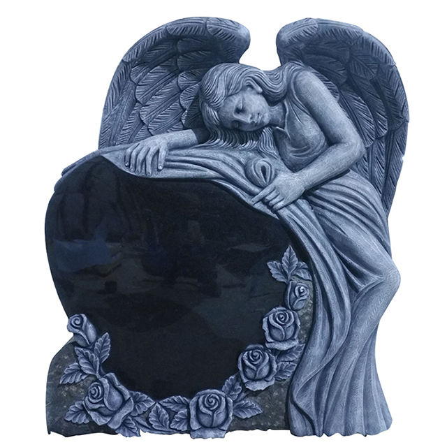 Memorial Antique China Black Granite Monuments Headstone with Cemetery Angel Wing Statue
