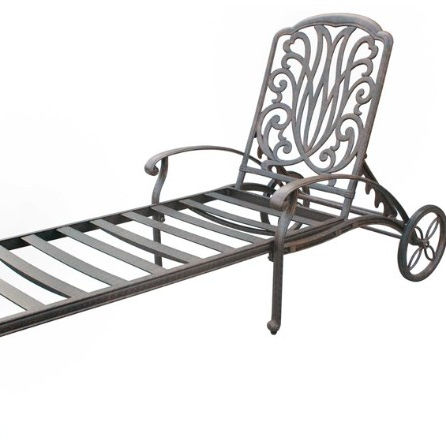 Black Color Cast Aluminum Chaise Lounger With Wheels