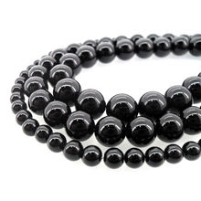 Natural Stone Jewelry Wholesale Black Onyx Round Loose Beads for Jewelry Making DIY Necklace Bracelet Earring Etc.