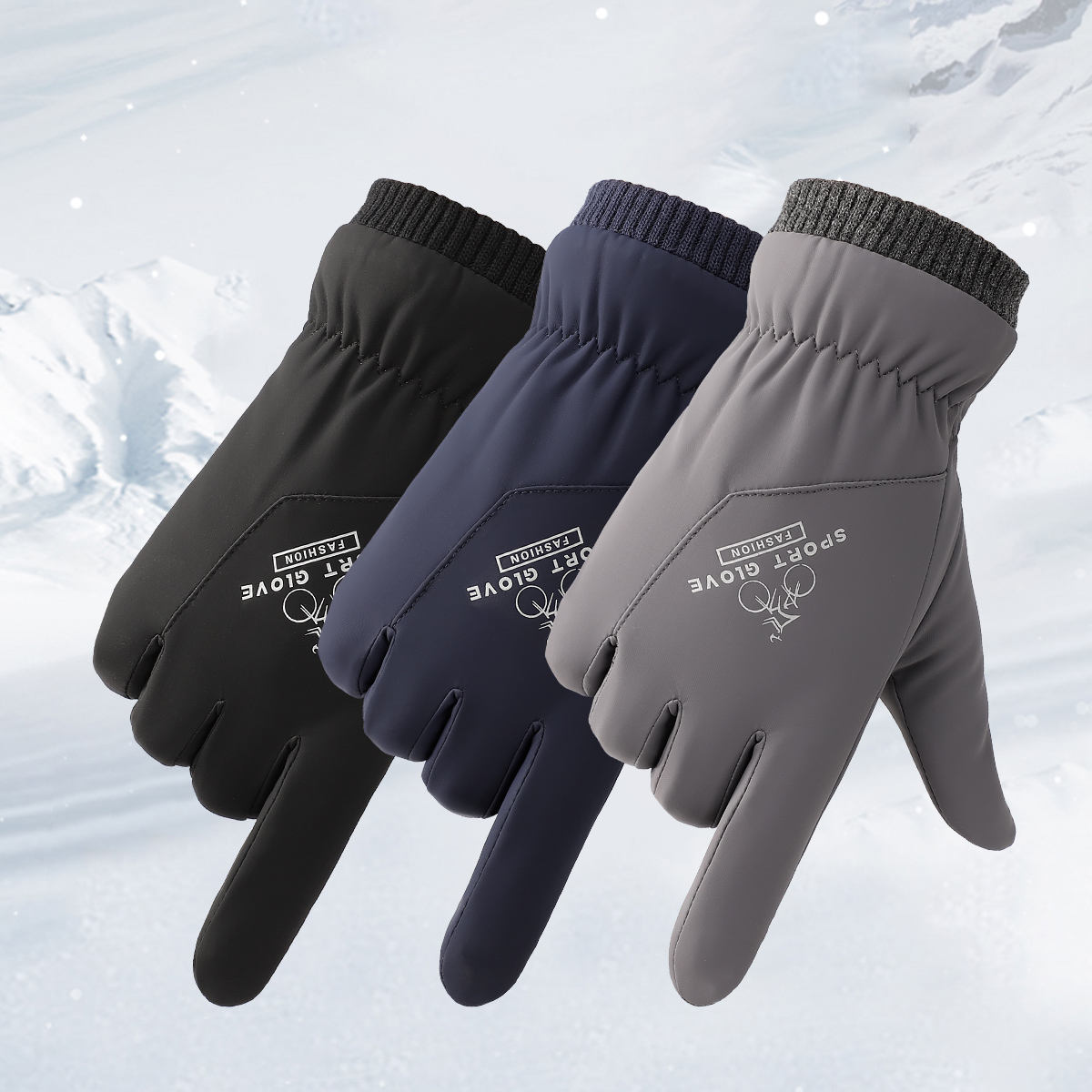 Custom logo slight waterproof fleece touch screen winter men bicycle gloves