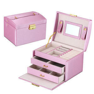 Cross-border pu leather jewelry box three-layer double drawer jewelry box princess jewelry storage box wholesale